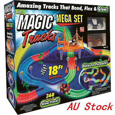 360 MAGIC TRACKS 18Ft Glow in the Dark 5LED LIGHT UP RACE 2Cars Bend Flex Toys