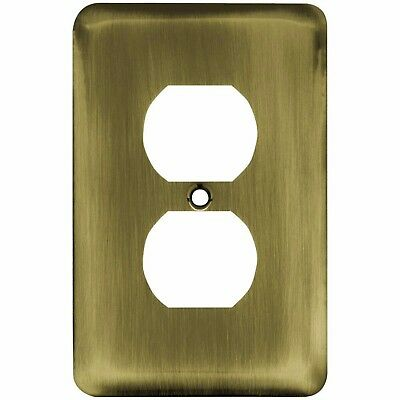 Liberty Stamped Round Decorative Single Duplex Antique Brass Metal Outlet Cover