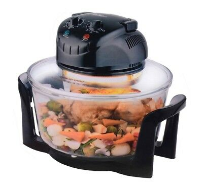 12 Litre 1200W Multi Function Halogen Oven Black 2 Stainless Steel Racks & Tongs