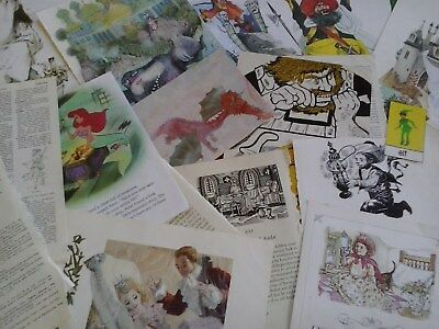 Vintage paper myths legends fairy tales images pictures text from old books