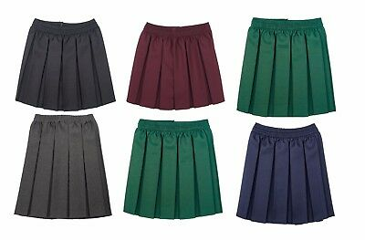 Girls Kids Skirt School Uniform Box Pleated Elasticated waist Skirt 2-18Years