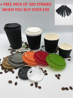 Disposable BLACK RIPPLE WALL RIPPLE ROUND Coffee Paper Cups 50 x 12oz 8oz LIDS