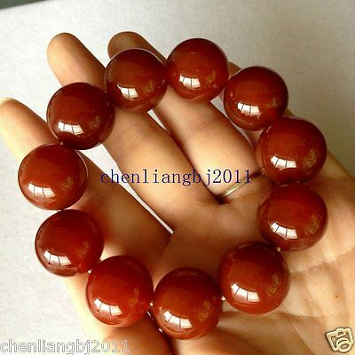 Red 100% Natural A JADE Jadeite Bead Beads Bangle Bracelet 20mm