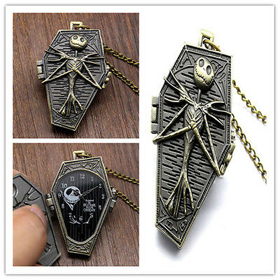The NIGHTMARE BEFORE CHRISTMAS Quartz Pocket Watch Chain gothic Retro NecklaceXP