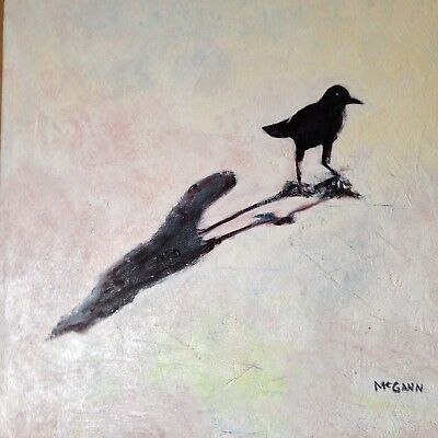 Original Oil On Canvas Painting By Artist- Grackle in shadow - 12 X 12 - $200.00