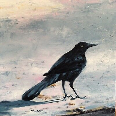 Original Oil On Canvas Painting By Artist- Grackle -12 X 12 - $225.00