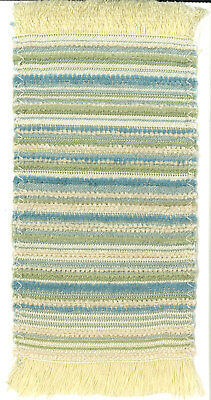 Dollhouse Miniature Woven Accent Rug in Browns, Pale Yellow Green Blue ~ HWRSZ14