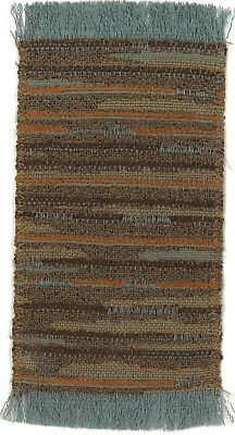 Dollhouse Miniature Woven Accent Rug in Rust Brown & Grey Blue ~ HWRSZ17