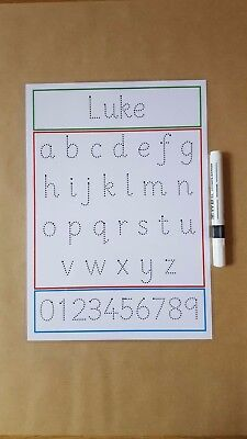 Name Tracing, Tracing Letters, tracing numbers, Wipe Clean Mat, EYFS, KS1