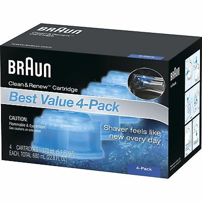 Braun CCR4 Clean and Renew System Cartridges Refills Series 3 5 7 Shaver, 4 Pack