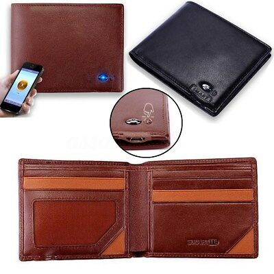 Genuine Leather Anti Theft Bluetooth Connection Phone Smart Wallet Rechargable