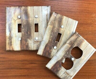 Rustic wood light switch plate cover // gray brown image // **SAME DAY SHIPPING