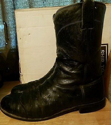 Black Larry Mahan Soft Ostrich Mens Roper Boots 10 D Made in Texas!