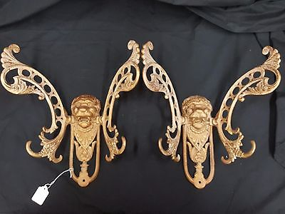 Architectural Salvage Cast Iron Ornate Lion's Head Coat Hangers Set of 2