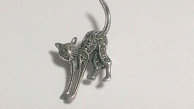 Silver Crystal Kitty Cat Vintage Brooch Pin Pewter