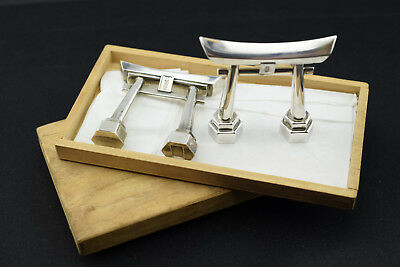 Japanese 970 Silver Torii Gate Shinto Shire Salt & Pepper Shakers - New in Box