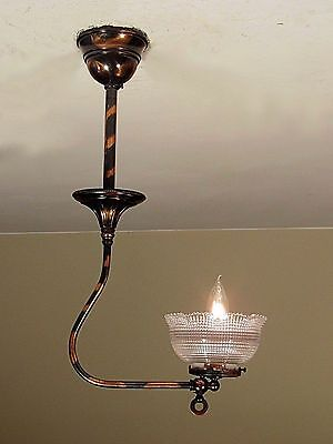 4 Available! Rare Antique 1890s Japanned Light Fixture Signed Holophane Shade