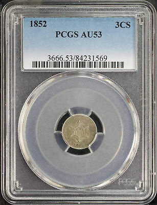 1852 Three Cent Silver PCGS AU-53 -162722