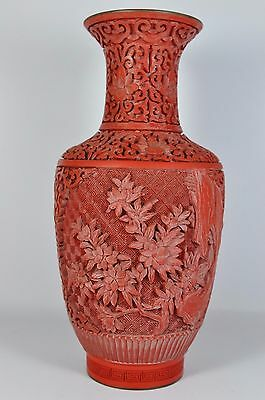"""Fine Vintage 10"""" China Chinese Hand Carved Cinnabar Lacquer Vase Sculpture Art"""
