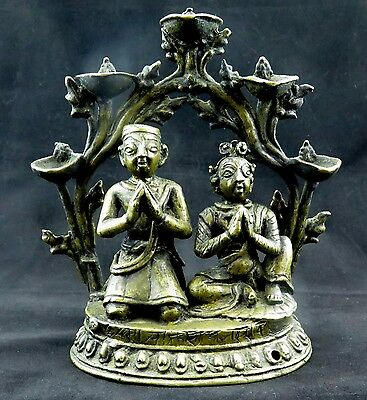 Antique Nepal Handmade Donor Figure Bronze Oil Lamp Statue Art Collectible Decor