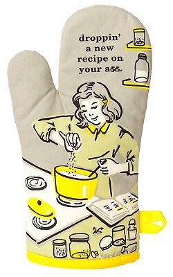 Blue Q Funny Novelty Oven Mitt, Droppin' A New Recipe On Your A**, Olive/Yellow