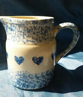 Gerald Henn Pottery Roseville Ohio, Blue Spongeware 1 Quart Pitcher with Hearts