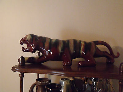 Mid Century Modern TV Tiger. Mottled Colours. Possible Blue Mountain Pottery