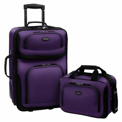 US Traveler  Rio Two Piece Expandable Carry-On Luggage Set Purple One Size