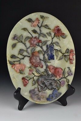 Large Antique 19th Century Chinese Jade Plaque w/ Hard Stones
