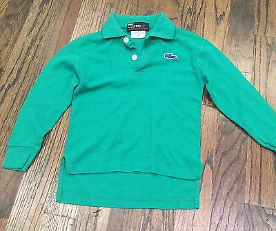VINTAGE 70'S-80's IZOD LACOSTE POLO SHIRT CHILDREN'S SIZE 4 GREEN LONG SLEEVE