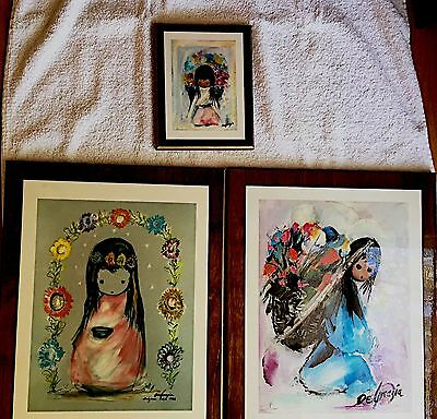 DeGrazia Lot of THREE Laminated Art prints Framed SOUTHWEST Signed - RARE