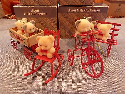 New Avon Teddy Bear Ornament Collection Teddy on Rocker, Trike, Bench, in Wagon