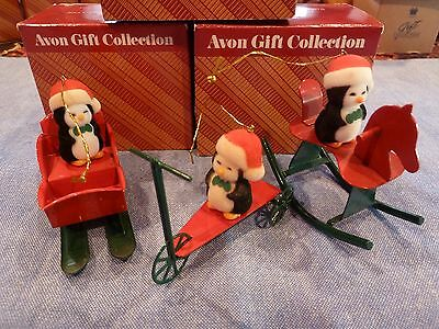New Avon Jolly Penguin Ornament Collection Scooter, Sleigh, Rocking Horse