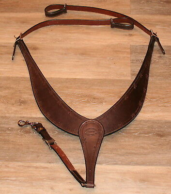 Ranch Pulling Breast Collar Barbed Wire Hand Tooled Dark Brown Leather by Jays