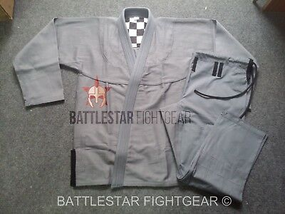 Custom Tailored Fit Jiu-Jitsu Kimono* Gray/ Grey Bjj Gi* Sublimated Yoke Panel