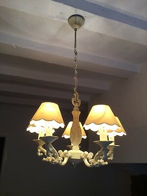 Vintage Shabby Chic Style French Chandelier 5 Arm Ornate Ceiling Lighting