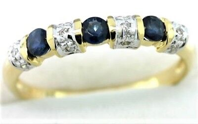 Natural Sapphire & 12 Diamond 9K 9ct 375 Solid Gold Eternity Ring All Genuine