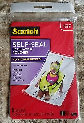 "Scotch 3M Self-Seal Laminating Pouches in 4""x 6""  (5 Pouches Per Package)- New"