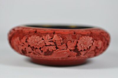 Fine Vintage China Chinese Hand Carved Cinnabar Lacquer Ashtray Sculpture Art