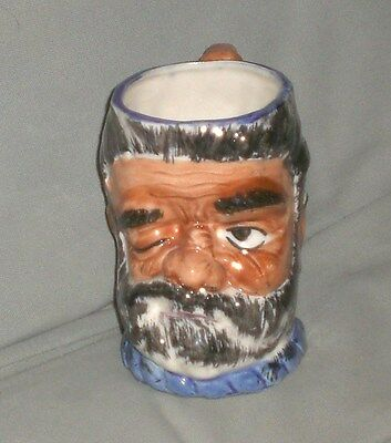 Very Nice Vintage Occupied Japan Winking Man Squirl Handle Toby Mug