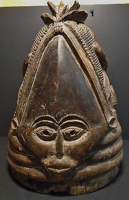 """African Mende Ceremonial Female Initiation  Mask C 1900-17"""" tall-Museum Quality"""