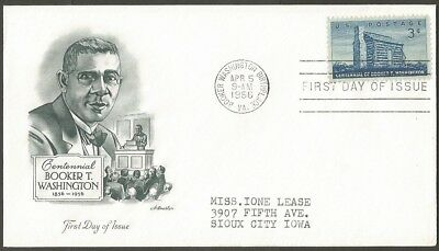 Us Fdc 1956 Booker T Washington 3C Stamp Birthplace Pm First Day Of Issue Cover