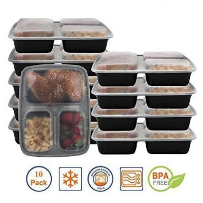 Meal Prep Container Food Storage 10 Pcs 3 Compartment with Lid Bento Lunchb Salc