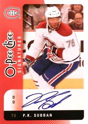 10-11 opc signatures rookie p.k. subban montreal canadiens autograph auto