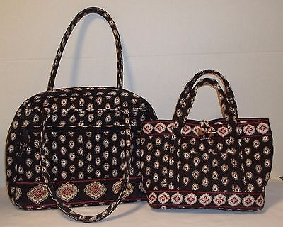 2 Vera Bradley bags, coordinating black cloth purses, print handbags, pocketbook