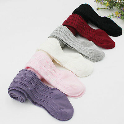 Toddler Baby Kids Cotton Knee High Socks Tights Hosiery Warm Stockings UK STOCK