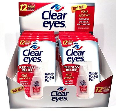 12 Pack CLEAR EYES Drops Redness Red Eye Relief 0.2 oz Sterile Bulk Wholesale