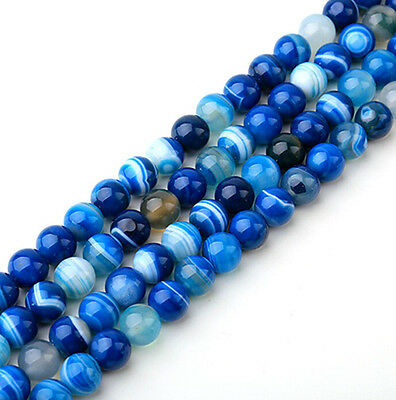 10-40Pcs Natural Blue Striped Agate Gemstone Round Spacer Loose Beads 4/6/8/10MM