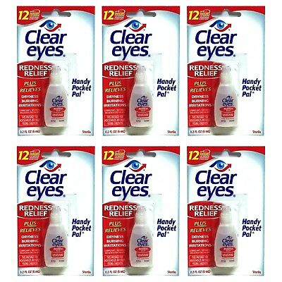6 Pack CLEAR EYES Drops Redness Red Dry Eye Relief 0.2 oz Sterile Bulk