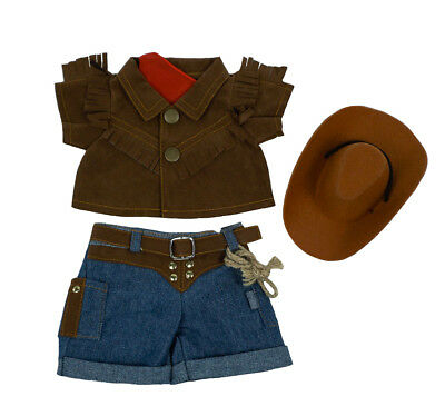 "Teddy Bear COWBOY Outfit w/HAT CLOTHES Fit 8""-10"" Build-a-bear !!NEW!! FREE SHIP"